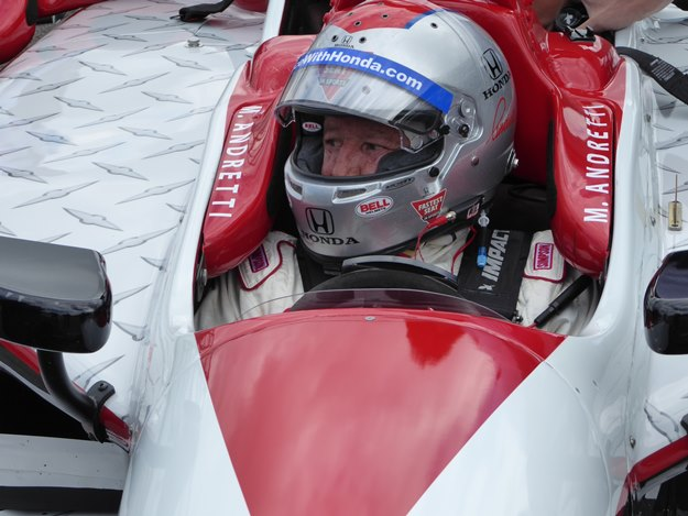 Mario Andretti at the wheel: Not slowing down at 76. (Jim Motavalli photo)
