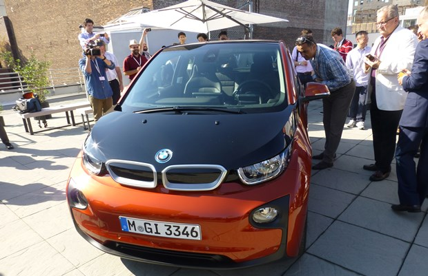 The BMW i3 meets the media in New York. It was a real crush! (Jim Motavalli photo)
