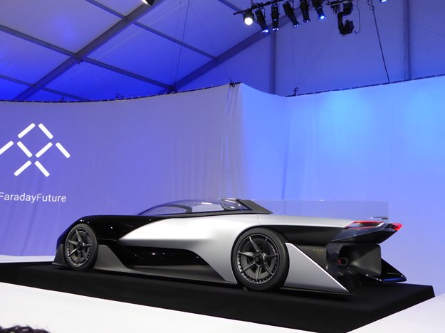 Faraday Future's Zero 1 Concept makes a statement, but we're not sure what it is. (Jim Motavalli photo)