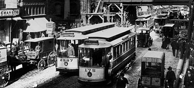 Trolley cars were ubiquitous in the days when private cars were rare. (New York Transit Museum)