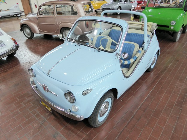 One of many Fiat 500s in the Lane collection. Earlier versions are behind. The Fiats star in the museum's Macchine Italiane exhibit, which opened this week. (Jim Motavalli photo)