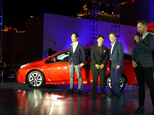 The Prius team, with the designers at left and Toyota executive Bill Fay third from left. (Jim Motavalli photo)