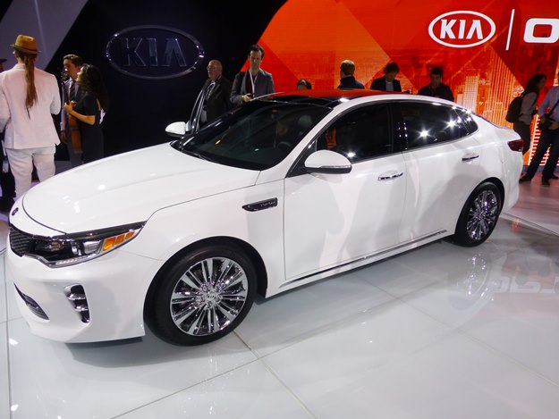 The 2016 Optima offers a new fuel-efficient four-cylinder turbo. Matching white suit not included. (Jim Motavalli photo)