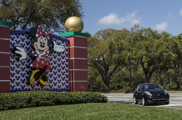 Minnie Mouse says, welcome to Orlando, Nissan Leaf. (Electrification Coalition)