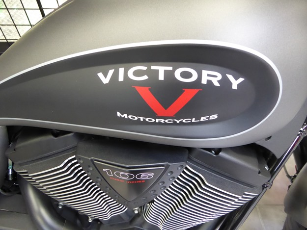 Polaris also makes motorcycles, like this 106-cubic-inch Victory v-twin. (Jim Motavalli photo)