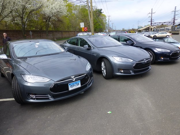 A trio of Teslas. The Model S might not even exist were it not for the ATVM loan program. (Jim Motavalli photo)