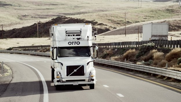 Otto is looking to automate the big rigs. The driver can grab shut eye in the sleeper as the truck rolls through the night. No more idling at the truck stop! (Otto photo)