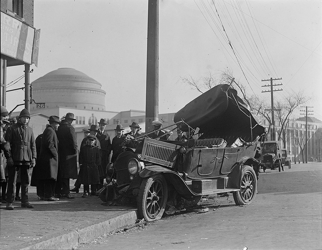 A wreck in Our Fair City, 1922. (Flickr image by Boston Public Library)