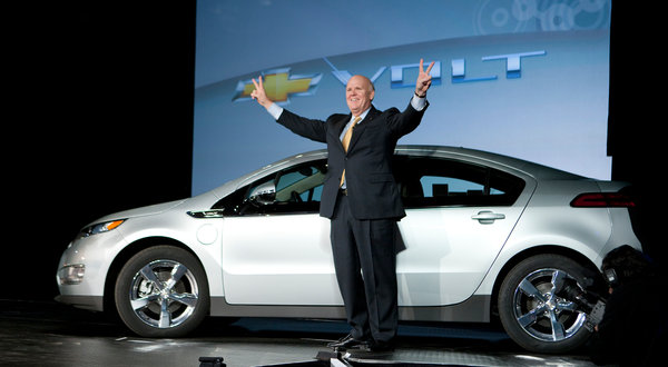 Akerson the Impatient, with the Chevrolet Volt, in happier times for G.M. (John F. Martin for Chevrolet)