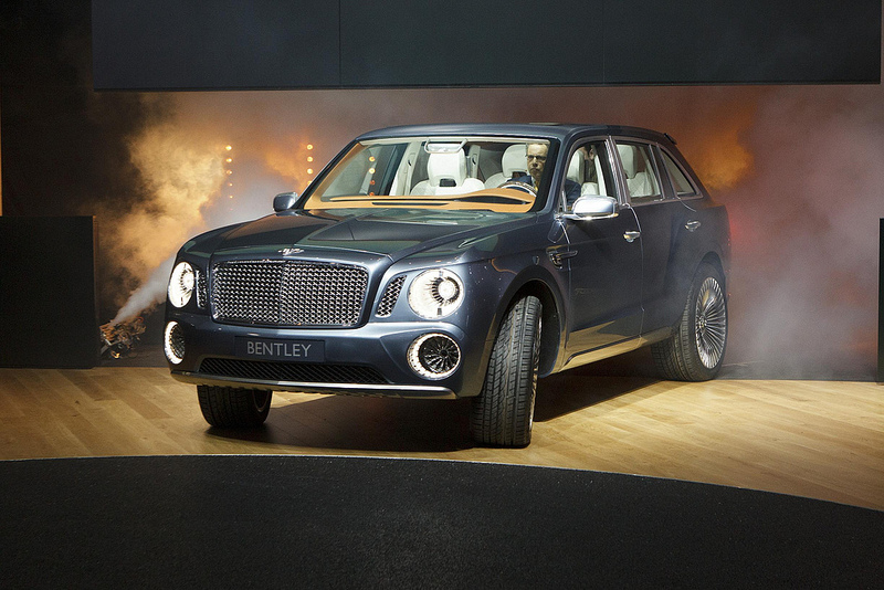 Unveiling of the new Bentley EXP 9F. Fog machines additional $15,000. (Flickr image by NRMA New Cars)