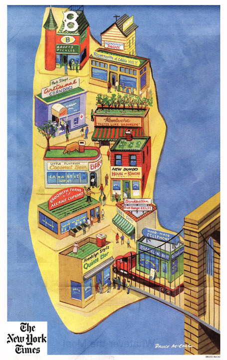 """Brooklyn the Brand"", by Bruce McCall. (Featured in the New York Times Dining Section on Dec. 15th, 2010)"