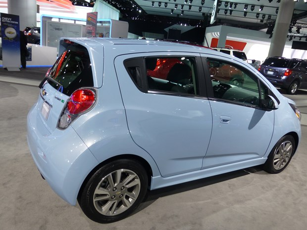 GM sees the world getting more electrified, and it's even making some of the cars, such as this electric Chevrolet Spark. (Jim Motavalli photo)