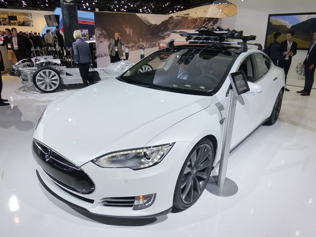There was no Model X in Detroit, so we got two Model S cars and a Model S chassis. (Jim Motavalli photo)