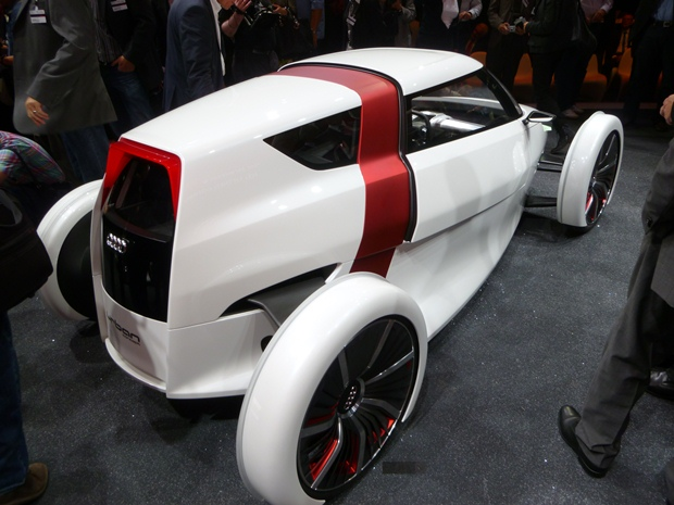 The Audi Urban Concept car is ultra-light and has one-plus-one seating. (Jim Motavalli photo)