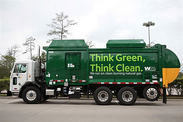 Nearly 40 percent of new garbage trucks are natural gas powered. (Waste Management photo)