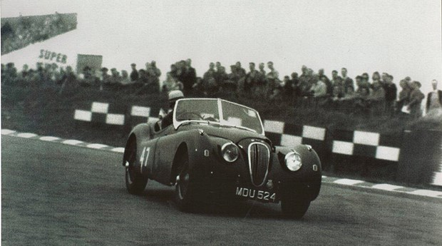The same Jaguar, competing at Brands Hatch in 1957 with Albert Powell driving. (courtesy JD Classics)
