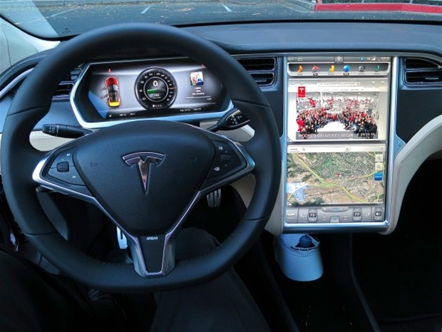 Tesla's 17-inch touchscreen offers full Internet access. (Tesla photo)