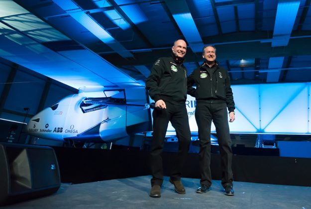 Bernard Piccard (left) and Andre Borschberg unveil the Solar Impulse 2. (Solar Impulse photo)