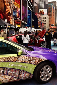 On the starting line: A cellulosic ethanol car in New York's Times Square. (Flickr/Matt McDermott)